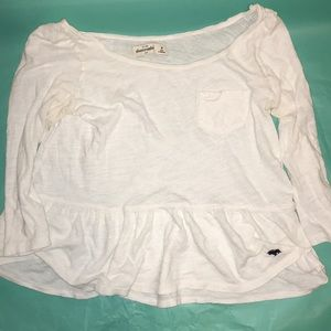 White Abercrombie kids medium long sleeve.